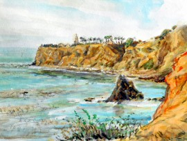 PALOS VERDES COAST water colors  15″ x 11″ 5-30-15