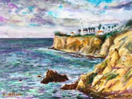 PALOS VERDES COAST OFF TERRANEA RESORT CA.   (SOLD ON SITE)  WATER COLOR 12″ X 20″ 1-16-2020