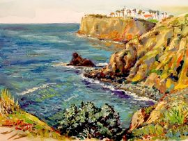 Palos Verdes Off of Terranea Resort      watercolor  15″ x 18″  1-12-18