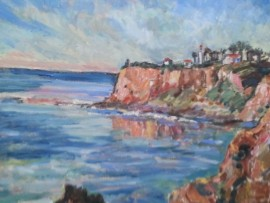 POINT VICENTE LIGHT HOUSE PALOS VERDES , Ca  oil  16″ x 16″ SOLD