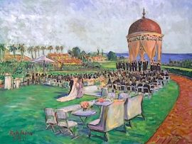 Chelsea & DeQuan's Wedding Ceremony   Pelican Hill Resort  Newport Coast Ca.   oil   30″ x 40″  5-25-19