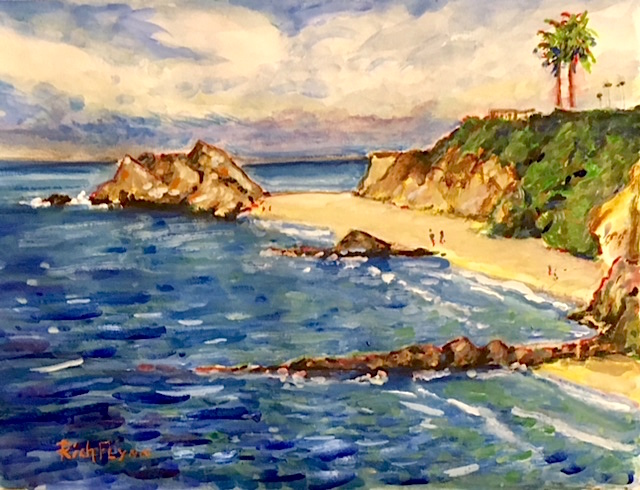 PIRATES COVE  LAGUNA BEACH CA.  WATERCOLOR   12″ X 16″ 6-20-18