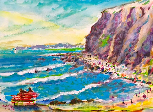 THE POINT   Dana Point Ca.   watercolor   15″ x 18″  1-13-18