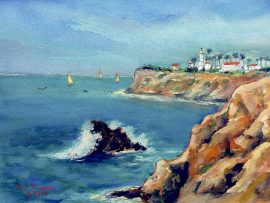 POINT VICENTE  Palos Verdes, Ca  watercolor  10″ x 14″ 8-22-16