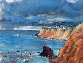 POINT VICENTE STORM  Off Terranea Resort, Rancho Palos Verdes Ca.  15″ x 12″  1-14-17