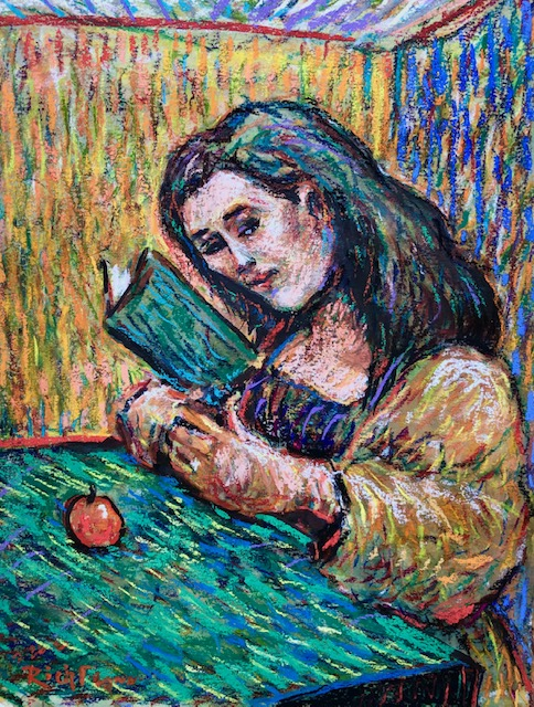 THE READER  WATERCOLOR? PASTELS  9′ X 16″  2-26-2020