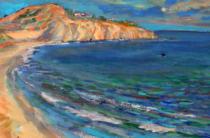 REEF POINT  Newport Coast CA,  WATER COLOR  15″ X 10″ 5-10-15