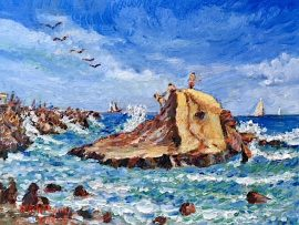 KIDS ON THE ROCK   OIL  14″ X 11′  DANA POINT HARBOR CA.  5-20-18