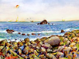 ROCKY SHORE  WATERCOLOR   15″ X 20″  3-30-18