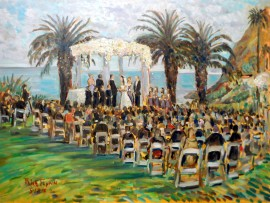 THE SHAHEEN WEDDING  Bel Air Bay Club Santa Monica, Ca  oil  30″ x 40″ 5-18-15