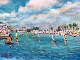 SAIL BOATS    DANA POINT HARBOR CA.  WATERCOLOR  11″ X 14″  8-5-2020  SOLD!  PRINTS ARE AVAILABLE