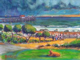 San Clemente Park with Molly Dog     watercolor  14″ x 16″  3-9-17