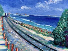 San Clemente Coast  train     oil   14″ x 14″  6-14-2020