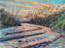 San Juan Creek  San Juan Capistrano Ca.  watercolor  14″ x 18″  2-11-17