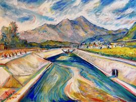SAN JUAN CREEK  DANA POINT CA.  WATERCOLOR / PASTEL  9″ X 12″  4-26-2020