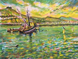 BOAT & SEALS  DANA POINT HARBOR Ca.  watercolor  9″ x 12″ 11-30-17