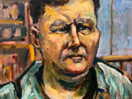SELF PORTRAIT   60 YEARS OLD    oil  12″ x 16″   10-4-19
