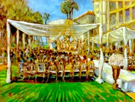 The Sharma Wedding  St. Regis Monarch Beach, Dana Point oil 30″ x 40″ 4-16-16