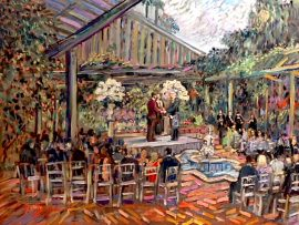 THE  CURCI  McCLAIN CEREMONY    SHERMAN GARDENS & LIBARY  CORONA DEL MAR CA.  OIL 30″ X 40″   9-9-18