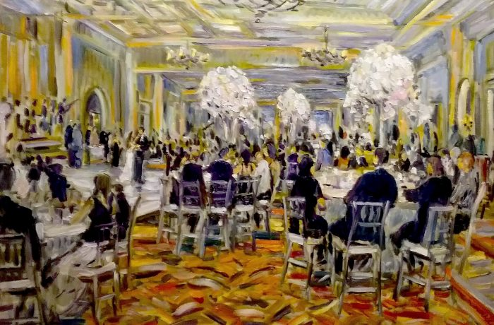 THE SIMKIN WEDDING  Estancia Hotel San Diego Ca.  oil  30″ x 40″ 5-13-17