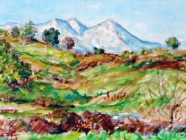SNOW ON THE HILLS. SADDEL BACK MOUNTAIN, CA  WATER COLOR 15″ X 11″