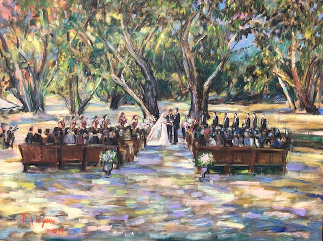 The Taylor  Volk  Wedding Ceremony   Alisal Guest Ranch  Solvang Ca.   oil  30″ x 40″  10-12-19