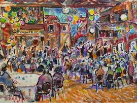 Stan & Tara Freeze's Birthday Party     Angalo's and Vinci's Restaurant  Fullerton Ca  Son's Josh & Jason Freeze Playing in the Band   A first using watercolor Pens for a Live Event  12″ x 18″ 8-18-19