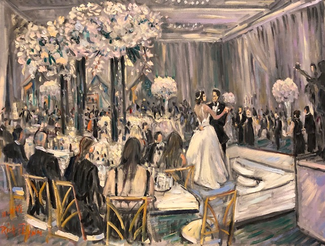 THE STERN – SCHAPIRO WEDDING RECEPTION  FOUR SEASONS HOTEL  BEVERLY HILLS CA.   oil  30″ x 40″ 11-16-19