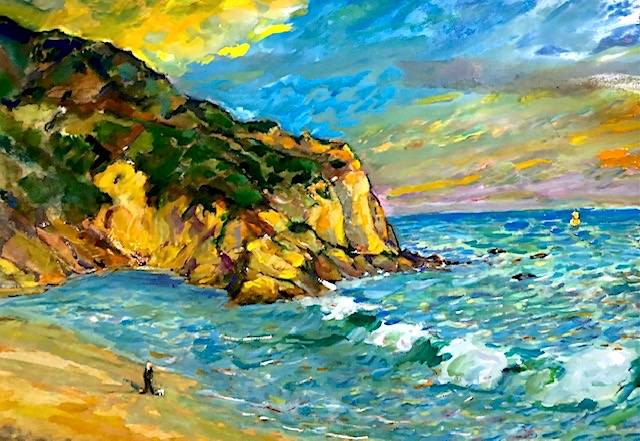 STRANDS BEACH MEMORIAL   DANA POINT CA.   WATERCOLOR  18″ X 12″  COMMISSIONED  12-13-2020
