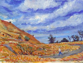 SUMMER STORM  san Juan Capistrano  water color  11″ x 15″ 6-28-15