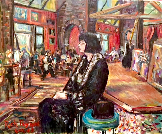 SUZANNE WYMAN PSYCHIC  CAFE TU TU TANGO ORANGE CA.  oil  14″ x 14″  6-16-18