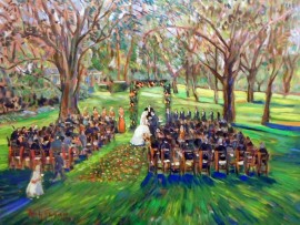 The Brown Sewell Wedding  Virginia Country Club  Long Beach, Ca  oil  30″ x 40″