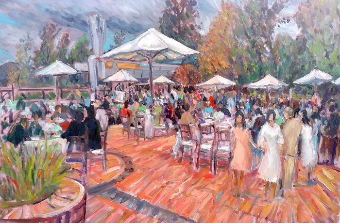TALIA'S BAT MITZAH  Stephen Wies Temple Los Angles, Ca. oil 30″ x 40″ 10-29-16
