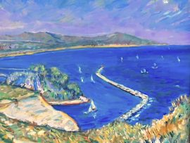 TALL SHIP DAY  DANA POINT CA.   oil  12″ x 12″  9-8-19