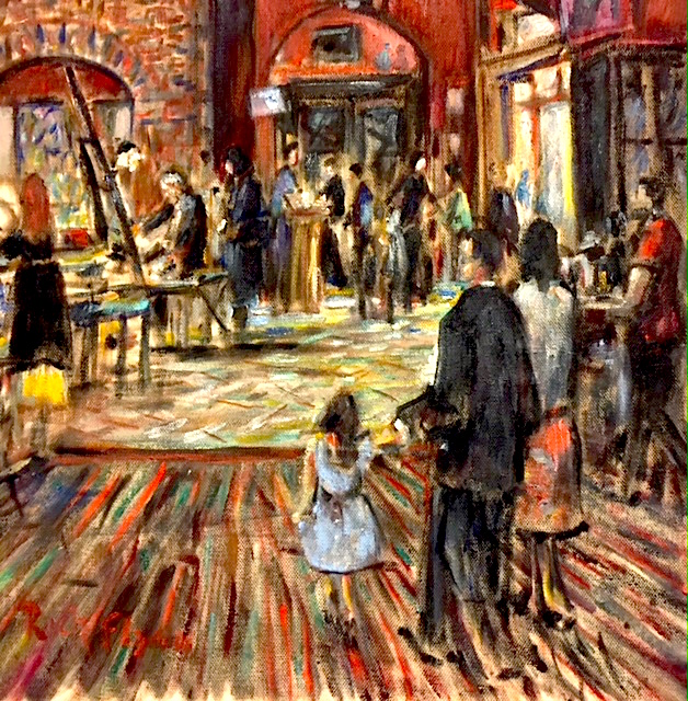 Artist Jack Rutherford at the Easel   oil  12″ x 12″  Cafe' Tu Tu Tango  Outlets of Orange. Ca.  5-19-18