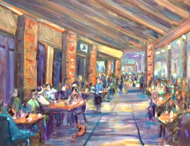 Cafe tu tu Tango Patio   OUTLETS OF ORANGE CA.     oil  14″ x 16″    JULY 21 2018