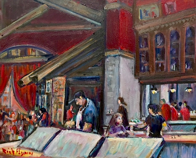 TANGO AT WORK   CAFE TU TU TANGO  Outlets of Orange Ca.  oil  14″ x 16″  9-20-18