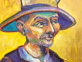 TANGO PORTRAIT  Van Gogh inspired  Cafe Tu Tu Tango  Outlets of Orange Ca. oil   14″ x 16″  7-28-18