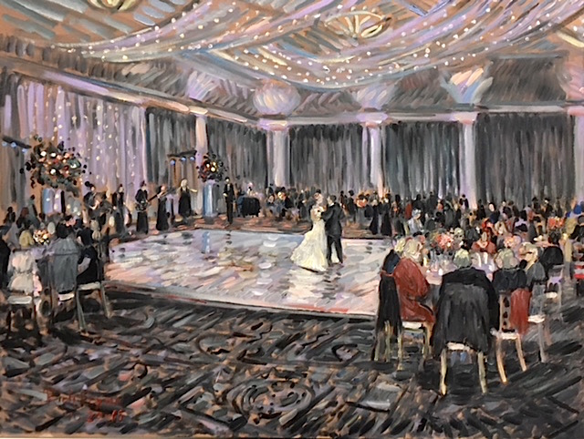 "AMY & EARLS WEDDING RECEPTION     PAINTED ""LIVE' FROM TARRYTOWN HOME ESTATE, TARRYTOWN NEW YORK.   oil  30″ x 40""  10-20-18"