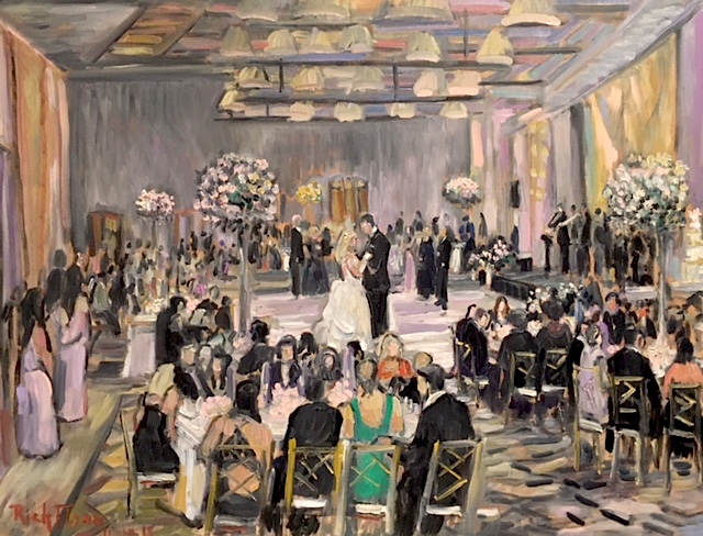 THE LONG -LARKIN WEDDING RECEPTION  LIVE PAINTING    TERRANEA RESORT PALOS VERDES CA.  oil  30″ x 40″  11-10-18