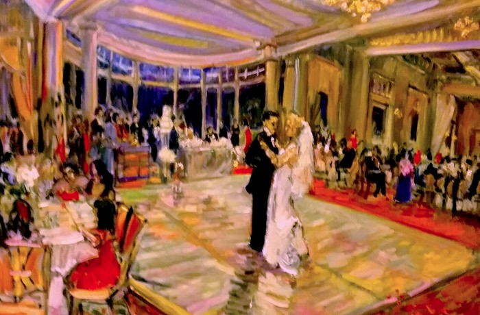 THE ESKAN WEDDING   Sherwood Country Club  Thousand  Oaks Ca.  oil  30″ x 40″  2-14-16