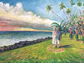 TINA & SCOTT'S WEDDING DAY  Kihei Maui   From photo's   Watercolor   24″ x 30″ 11-17-17
