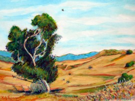 TREE IN SAN JUAN CAPISTRANO  water color  11″ x 15″  4-29-15