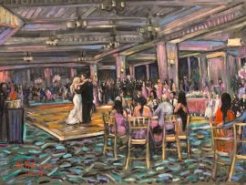 "Victoria and Shauns  Live Wedding Reception   Glendora Country Club  Glendora Ca.   oil   3-"" x 40″  11-2-19"