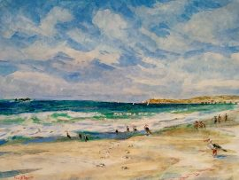 "A DAY AT THE BEACH WITH VIN SCULLY""S LAST BROADCAST.  watercolor  San Clemente State Park Beach  12″ x 15″  10-2-16"