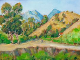 WALKING THE DOG    watercolor  San Juan Capistrano Ca.  16″ x 14″  8-28-16