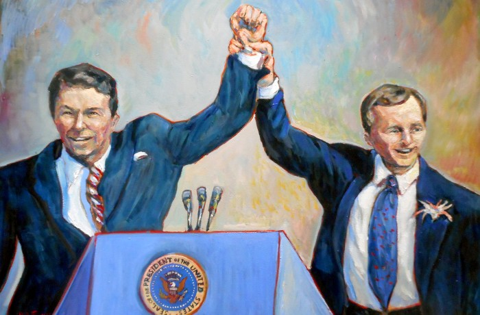 Prisedent Ronald Reagan & Governor Pete Wilson Commissioned by the FORR (Friends of Ronald Reagan) Foundation To Honor Former Governor Pete Wilson oil 30″ x 40″