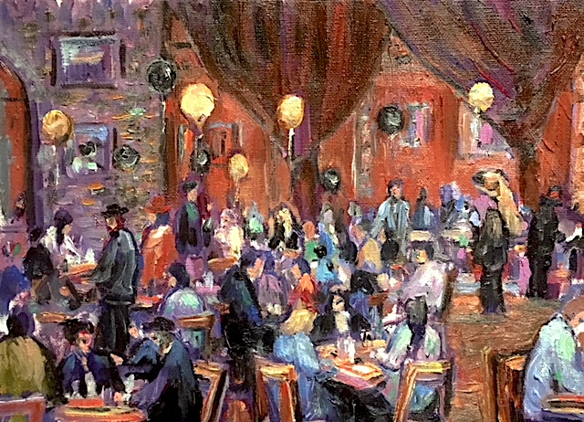 NEW YEARS EVE CAFE TU TU TANGO    OIL  12″ X 10″    CELEBRATING 20 YEARS PAINTING AT THE TANGO.   12-31-18