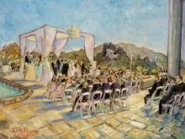 The Yedidsion Wedding  Private Home off Mulholland, Los Angles Ca.  oil 30″x 40″ 7-3-16