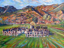 Botsford Wedding Ceremony  Santa Barbra Polo Fields  oil  30″ x 40″